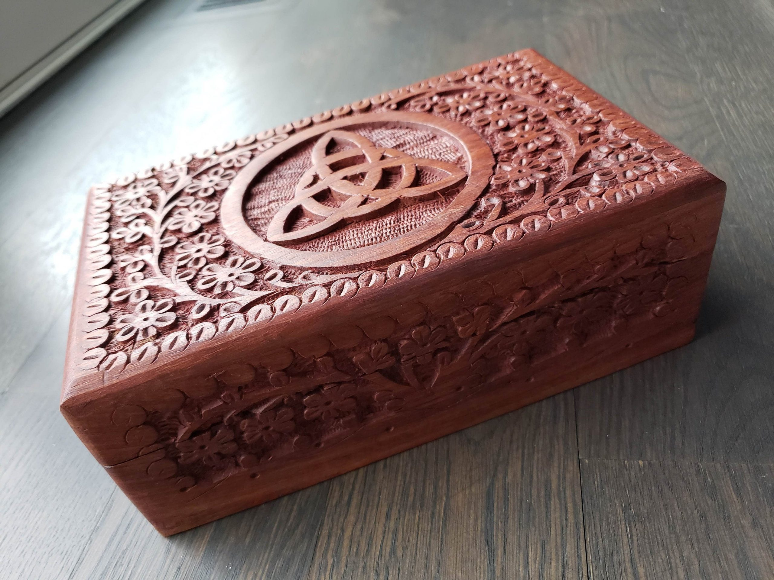 6 x 3 x 3.5 Rustic Wooden Keepsake Box with Celtic Carvings
